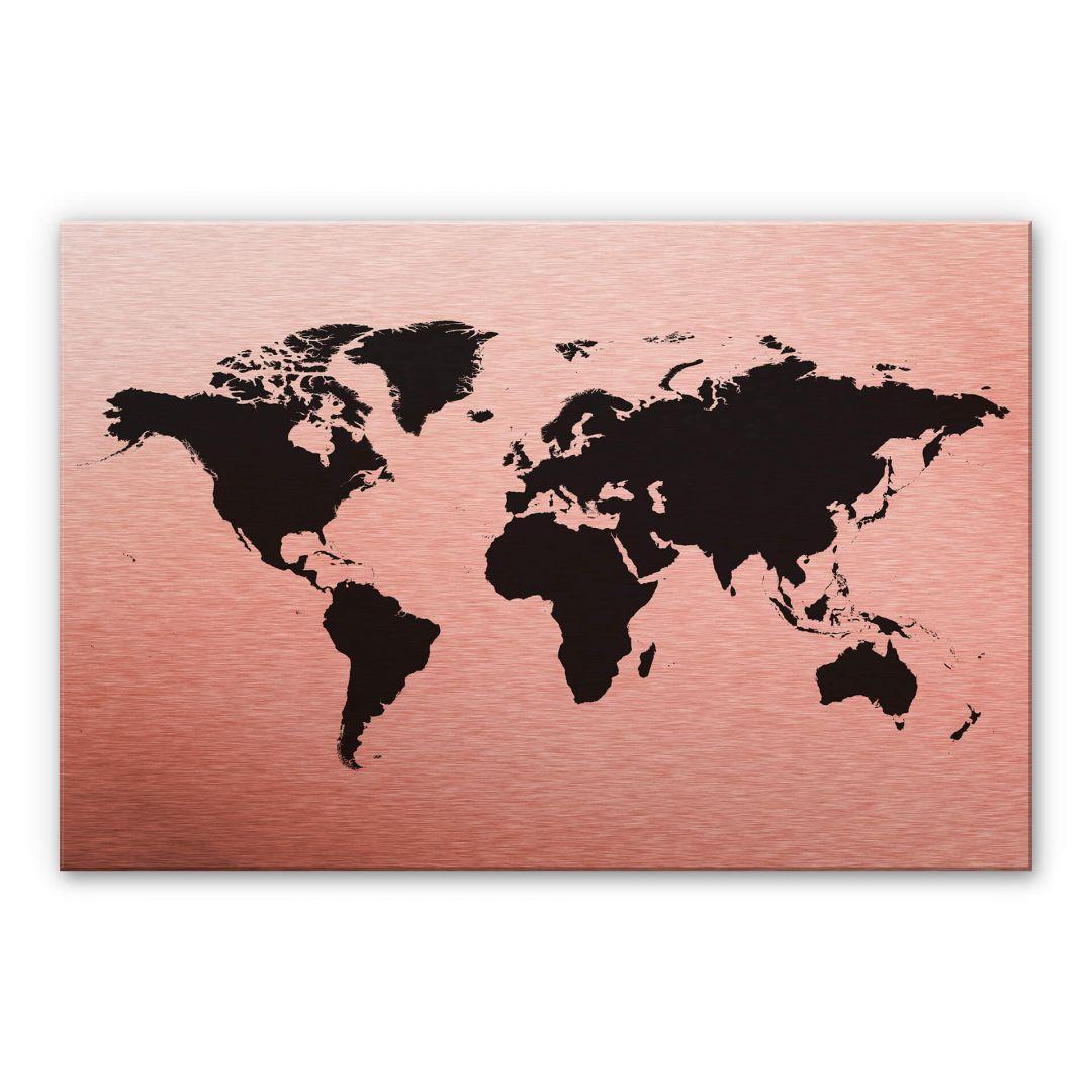 Alu-Dibond Kopereffect - Wereldkaart 01
