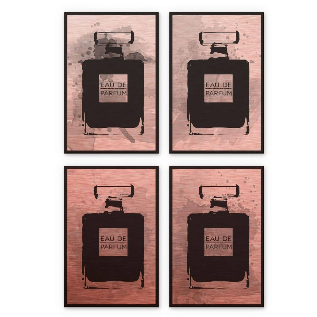 alu dibond bild mit kupfereffekt eau de parfum 4er set wall. Black Bedroom Furniture Sets. Home Design Ideas
