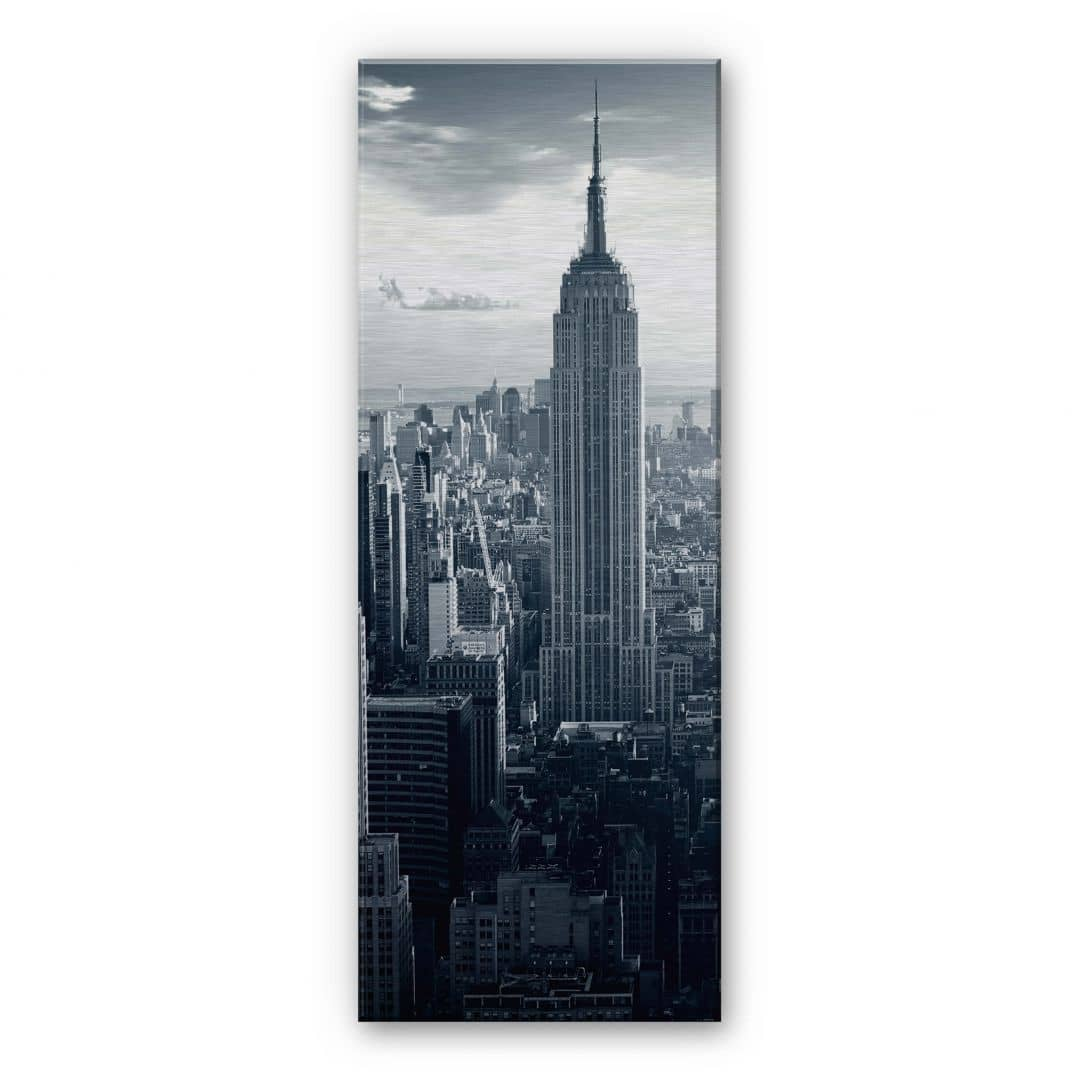 alu dibond silber geb rstet panorama the empire state building wall. Black Bedroom Furniture Sets. Home Design Ideas