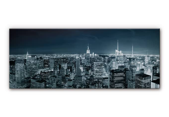 tableau en alu dibond new york at night 2 panorama. Black Bedroom Furniture Sets. Home Design Ideas