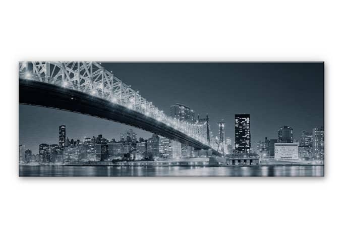 tableau en alu dibond new york at night 3 panorama. Black Bedroom Furniture Sets. Home Design Ideas