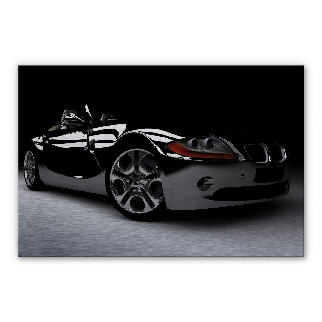 alu dibond wandbild mit silbereffekt black car stylisches auto im silber look wall. Black Bedroom Furniture Sets. Home Design Ideas