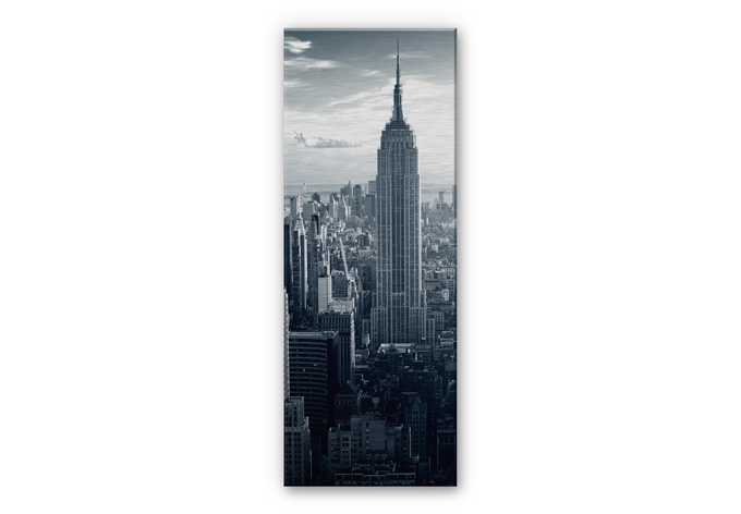 alu dibond silber geb rstet panorama the empire state. Black Bedroom Furniture Sets. Home Design Ideas