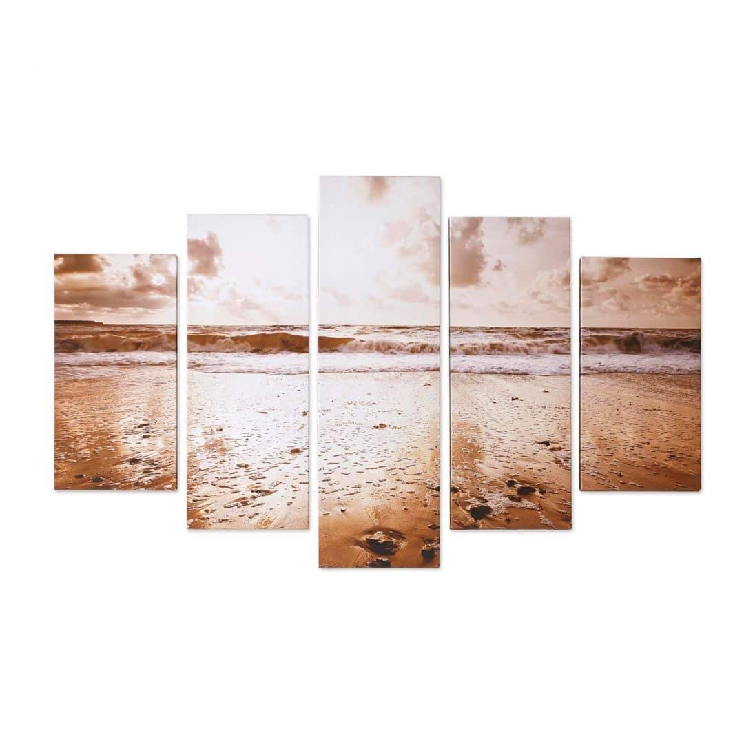 5-er Set Leinwandbild SUNRISE BEACH