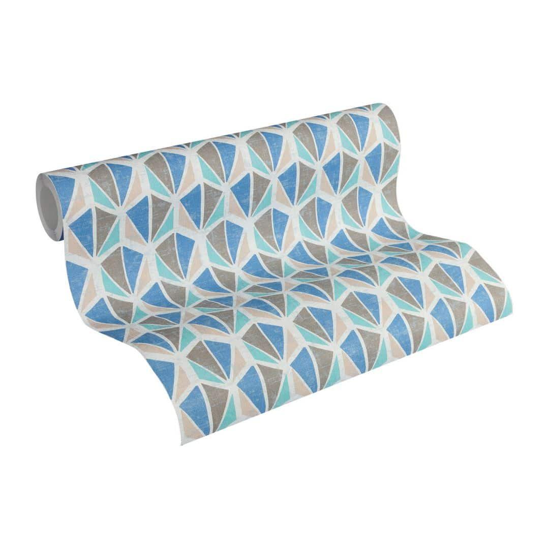 a s cr ation tapete pop colors beige blau braun 355985 wall. Black Bedroom Furniture Sets. Home Design Ideas