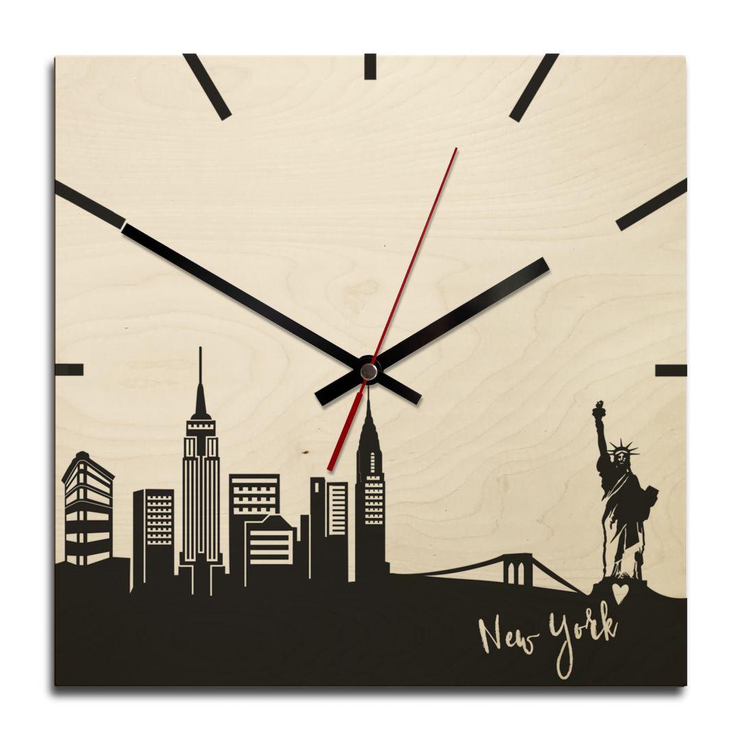 holz wanduhr skyline new york quadratisch wall. Black Bedroom Furniture Sets. Home Design Ideas
