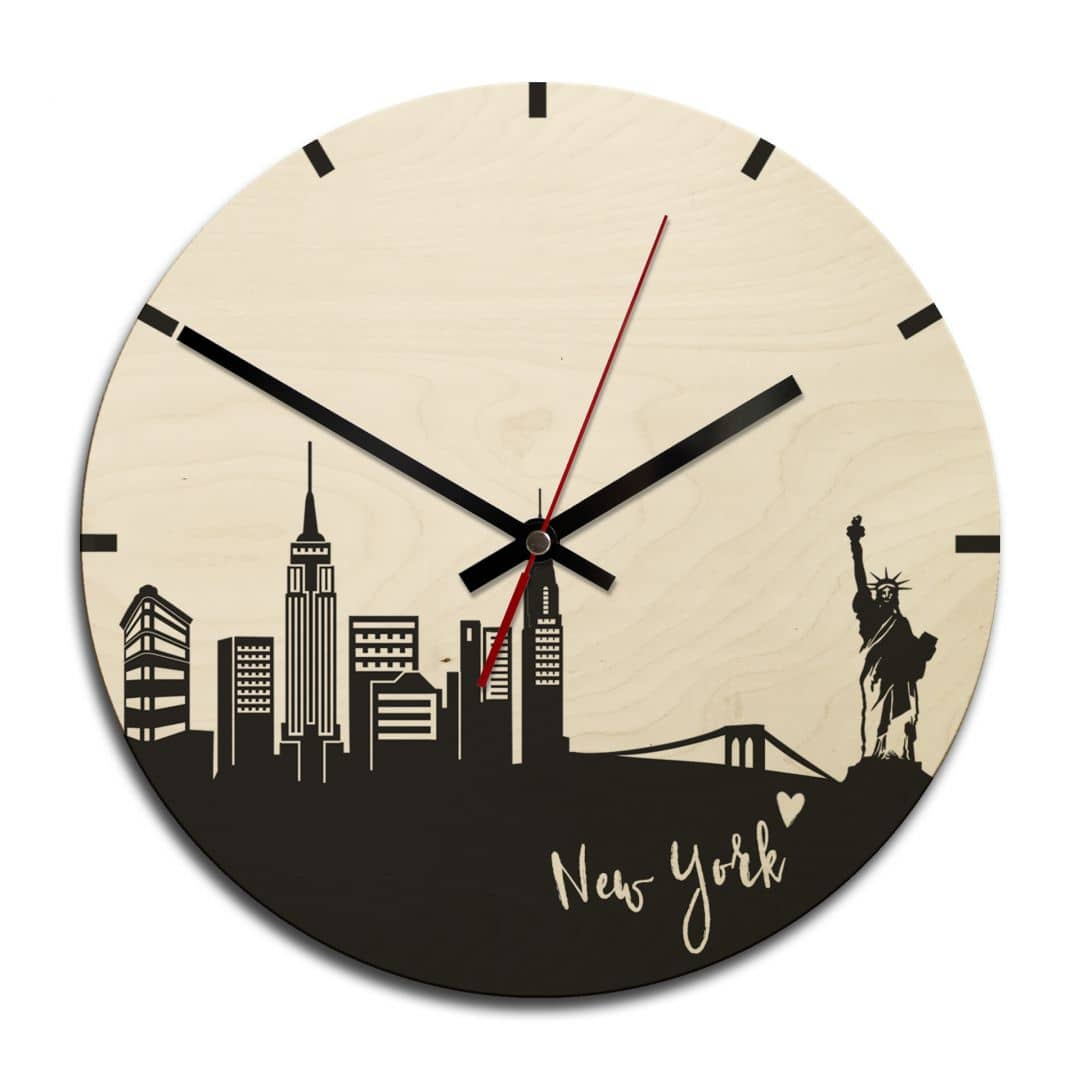 horloge murale skyline new york ronde wall