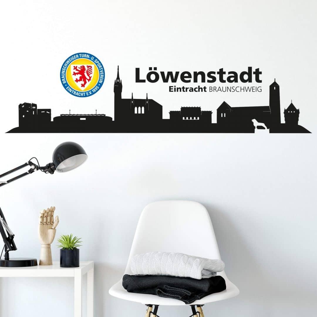 Wandtattoo Eintracht Braunschweig Skyline mit Logo farbig
