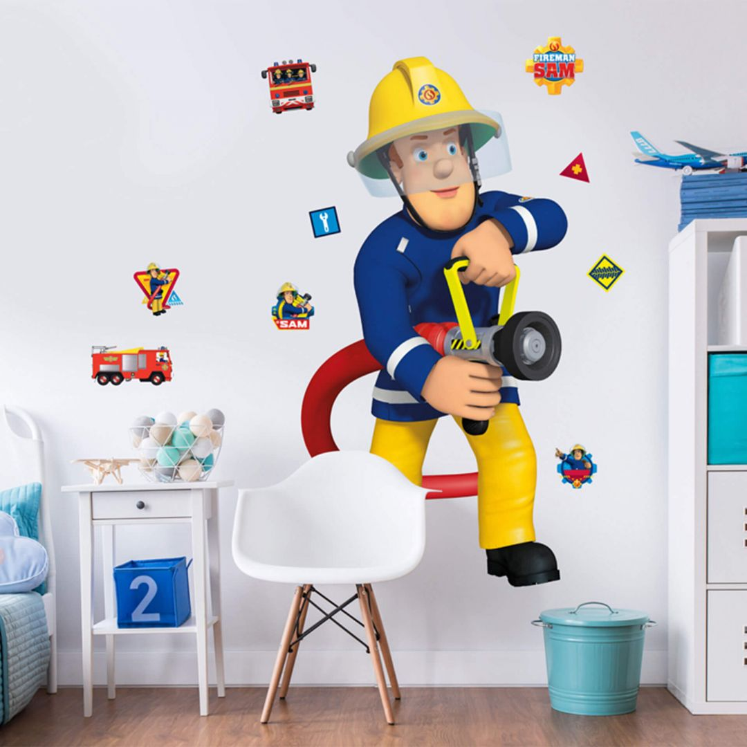 Muursticker Brandweerman Sam