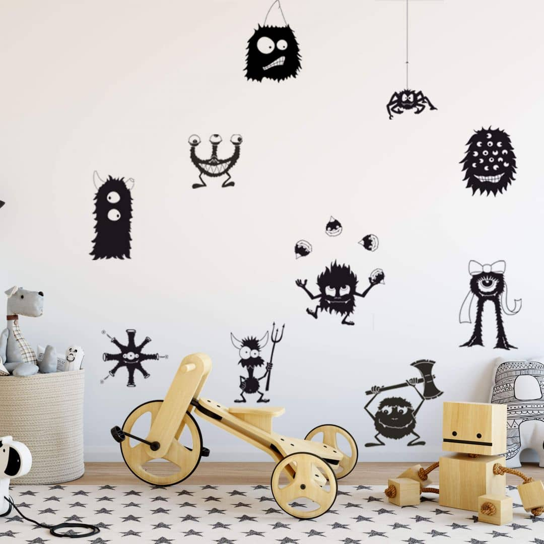 wandtattoo monster set wall. Black Bedroom Furniture Sets. Home Design Ideas