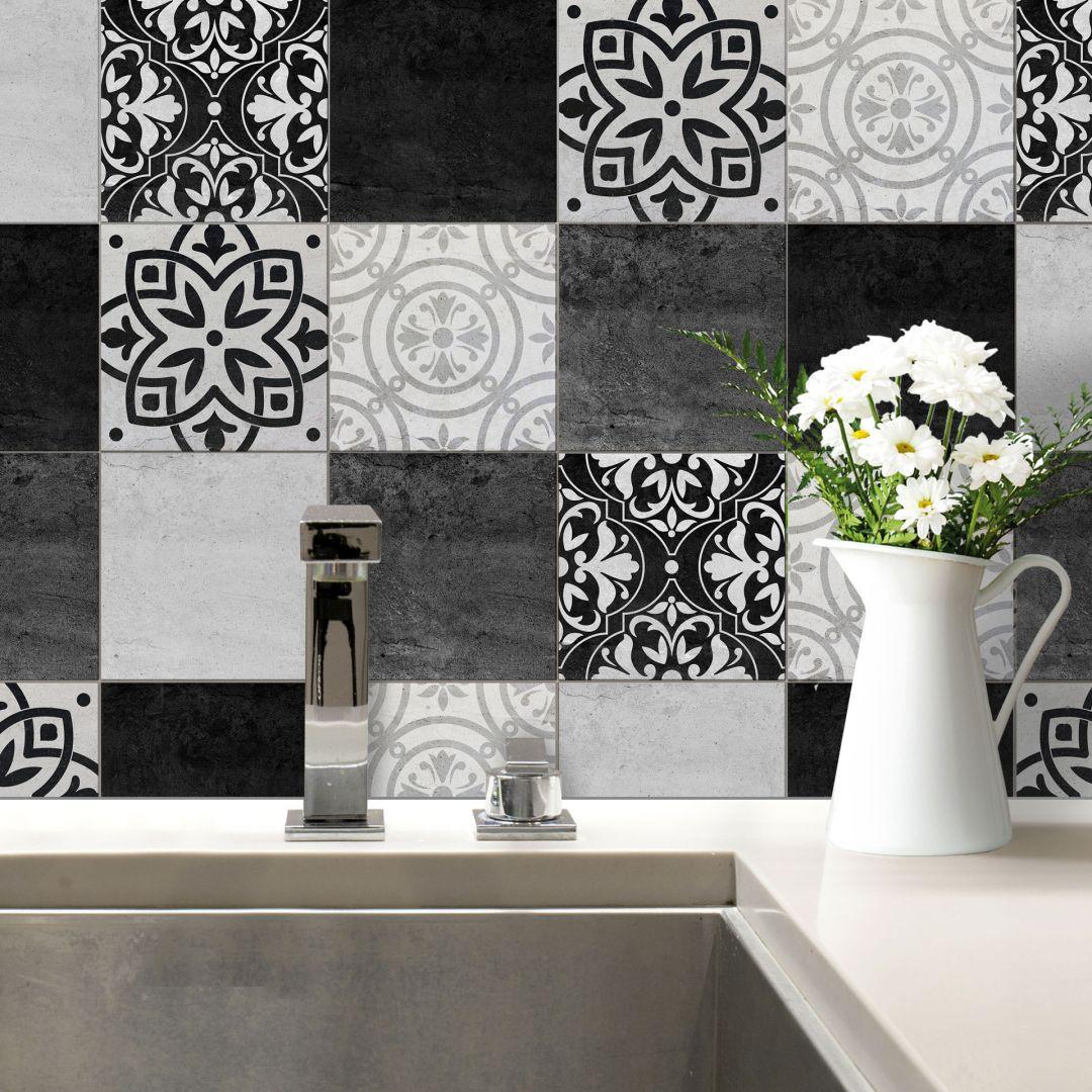 sticker carrelage patchwork noir et blanc. Black Bedroom Furniture Sets. Home Design Ideas