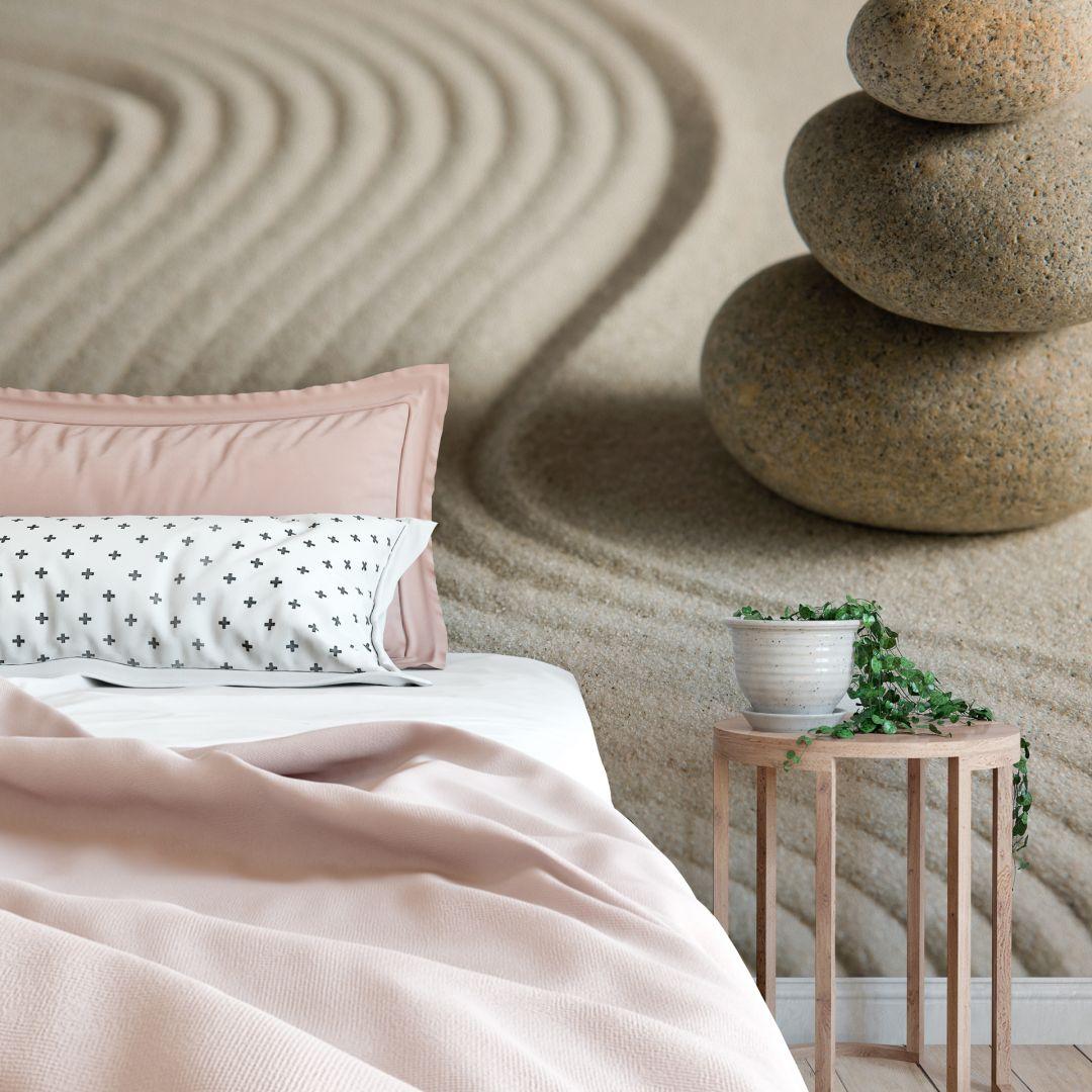 fototapete stone in sand 2 zen garten als asiatische dekoration wall. Black Bedroom Furniture Sets. Home Design Ideas
