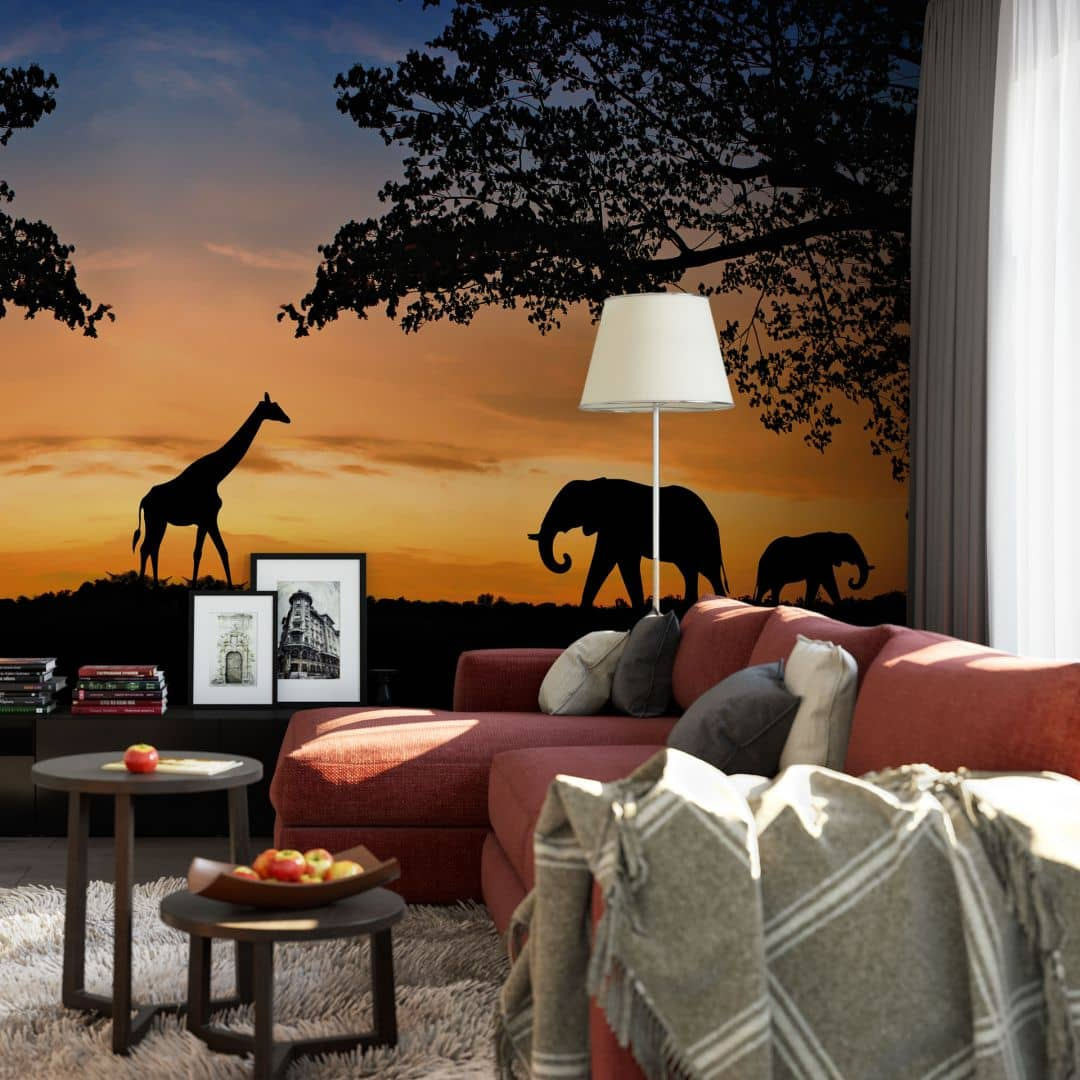 fototapete african sunset holen sie afrika in ihr wohnzimmer wall. Black Bedroom Furniture Sets. Home Design Ideas