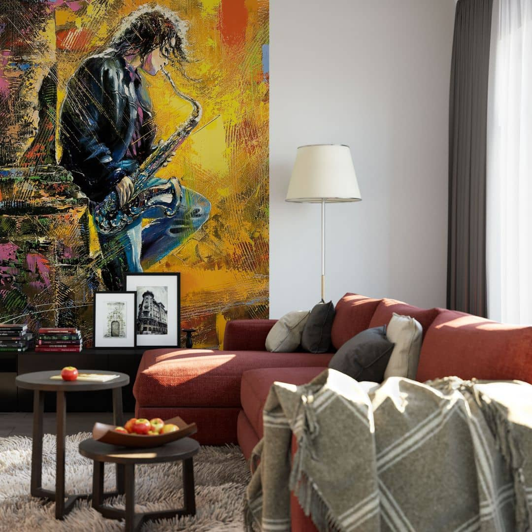 fototapete guy playing a saxophone von k l wall art wall. Black Bedroom Furniture Sets. Home Design Ideas