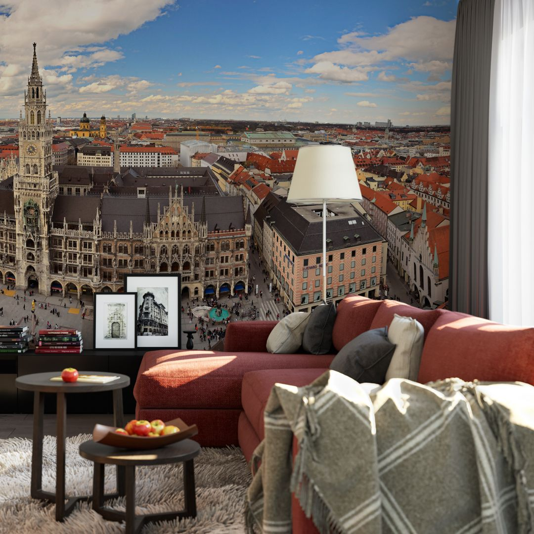fototapete m nchener skyline panorama von k l wall art wall. Black Bedroom Furniture Sets. Home Design Ideas