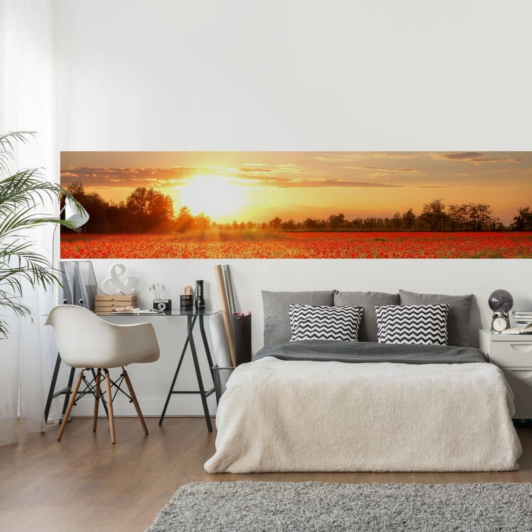 fototapete mohnfeld im sonnenuntergang panorama wall. Black Bedroom Furniture Sets. Home Design Ideas
