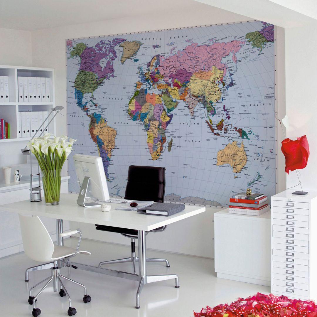 Photo Wallpaper Paper World Map
