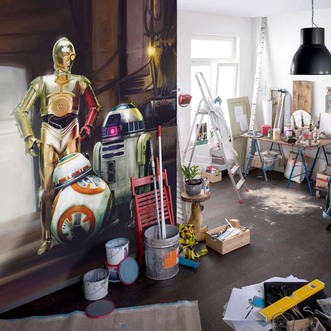 fototapete papiertapete star wars three droids 4 447 wall. Black Bedroom Furniture Sets. Home Design Ideas
