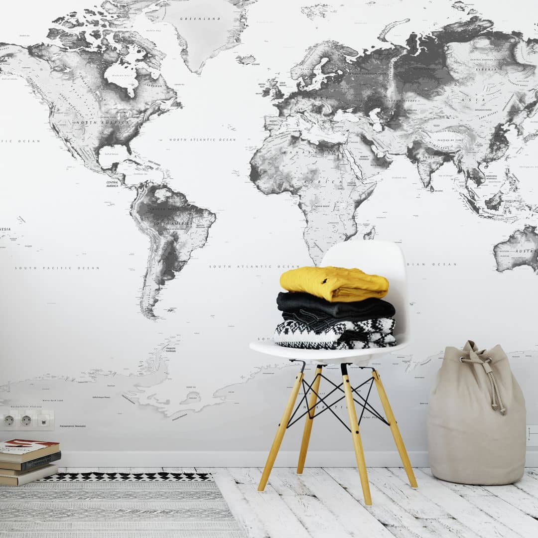Fotobehang Wereldkaart – Zwart Wit