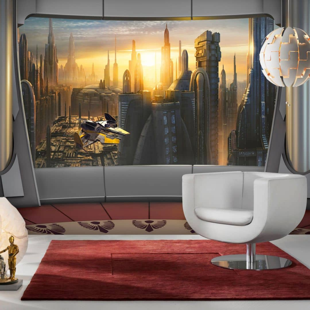 fotobehang papierbehang star wars coruscant view wall. Black Bedroom Furniture Sets. Home Design Ideas