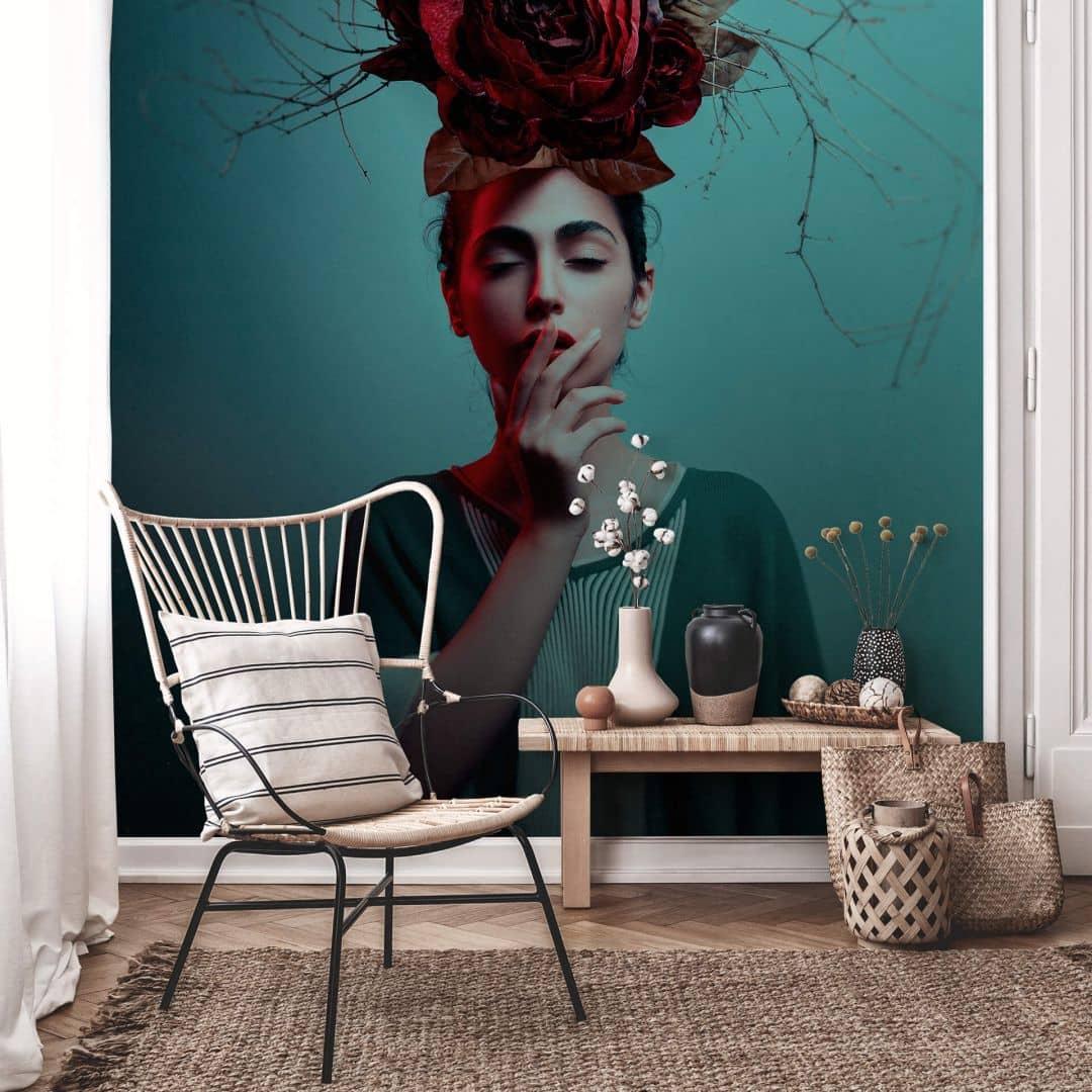 fototapete amin blumen im haar wall. Black Bedroom Furniture Sets. Home Design Ideas