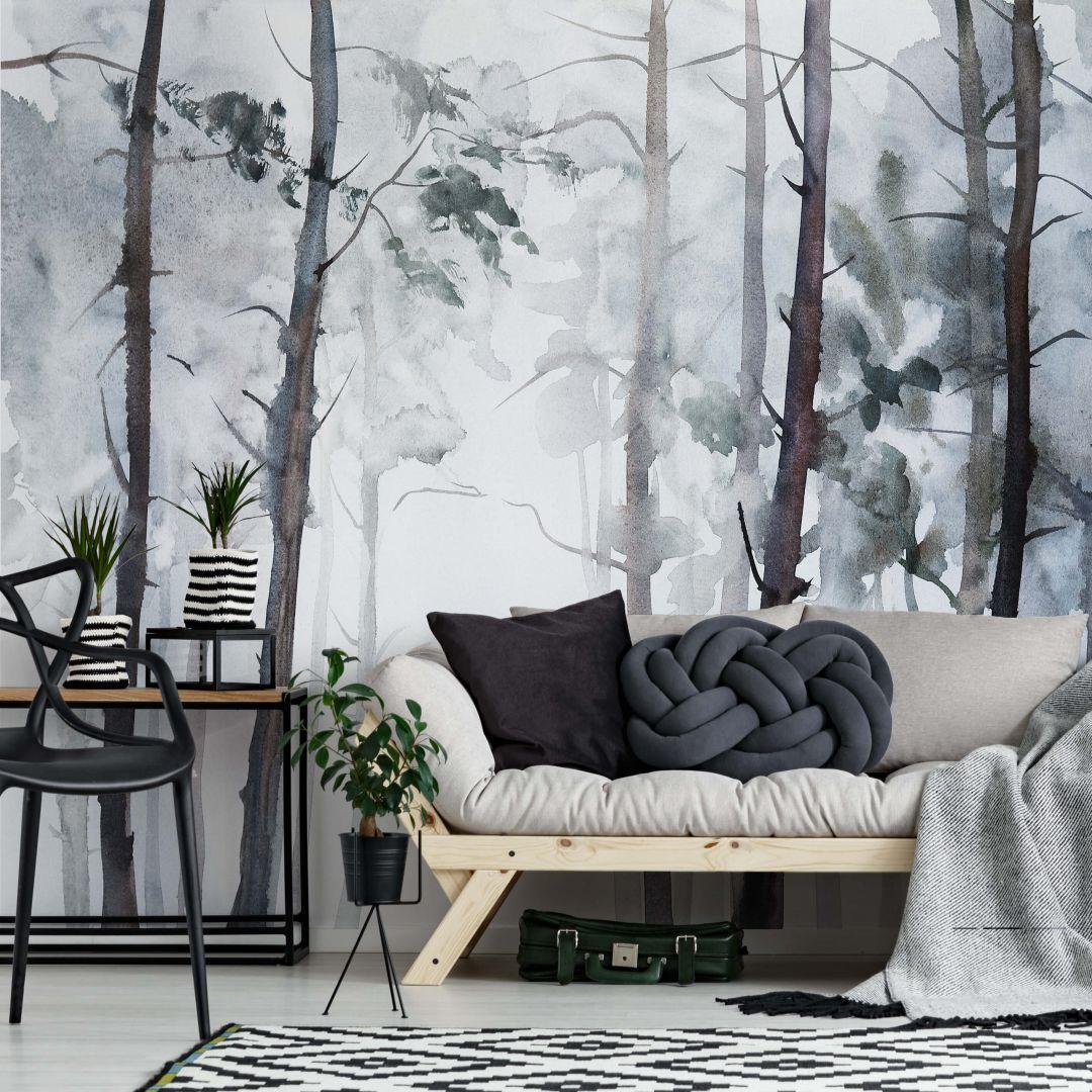 Fotobehang Watercolour Forest