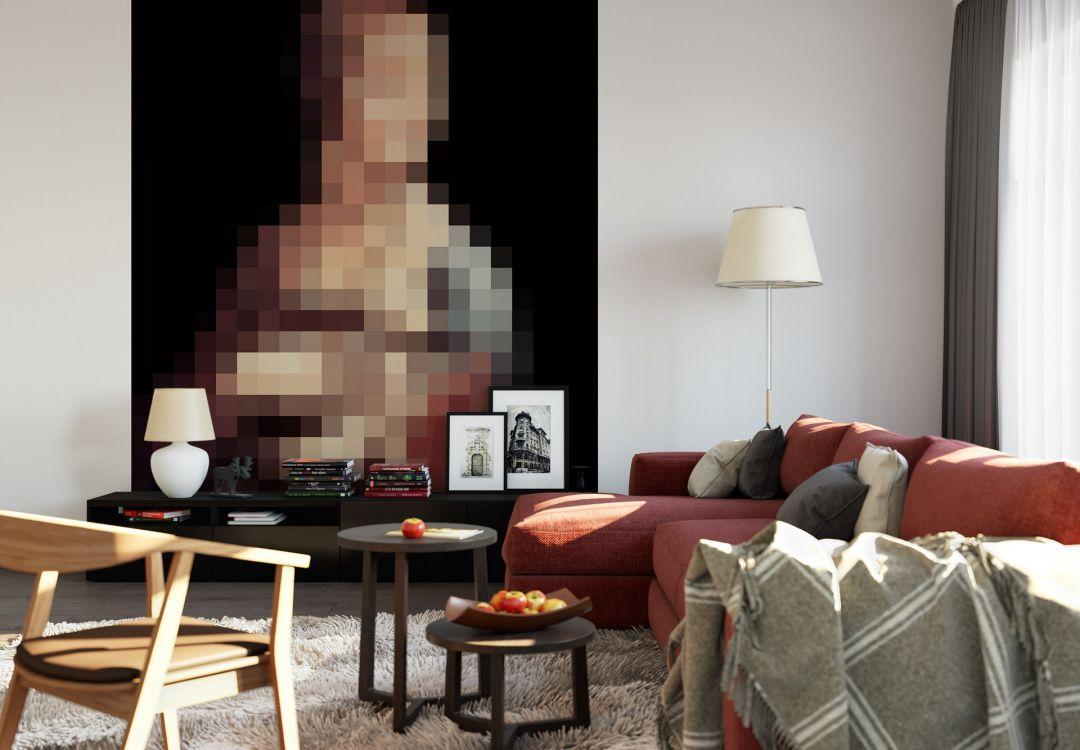 Fototapete Pixelart - da Vinci - Die Dame mit dem Hermelin
