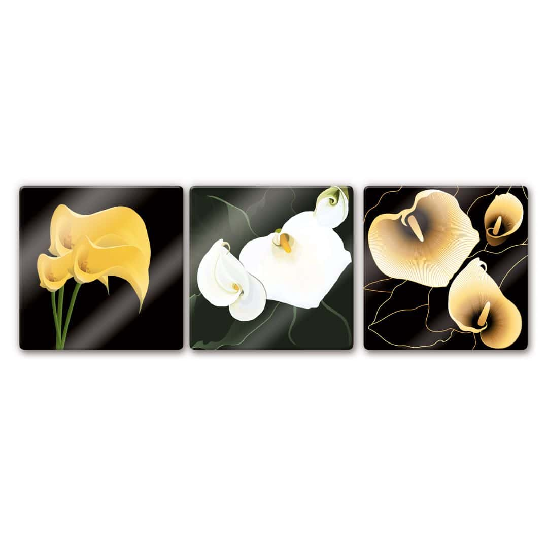 glasbild calla lilie triptychon die sch nen lilien als dreier set wall. Black Bedroom Furniture Sets. Home Design Ideas