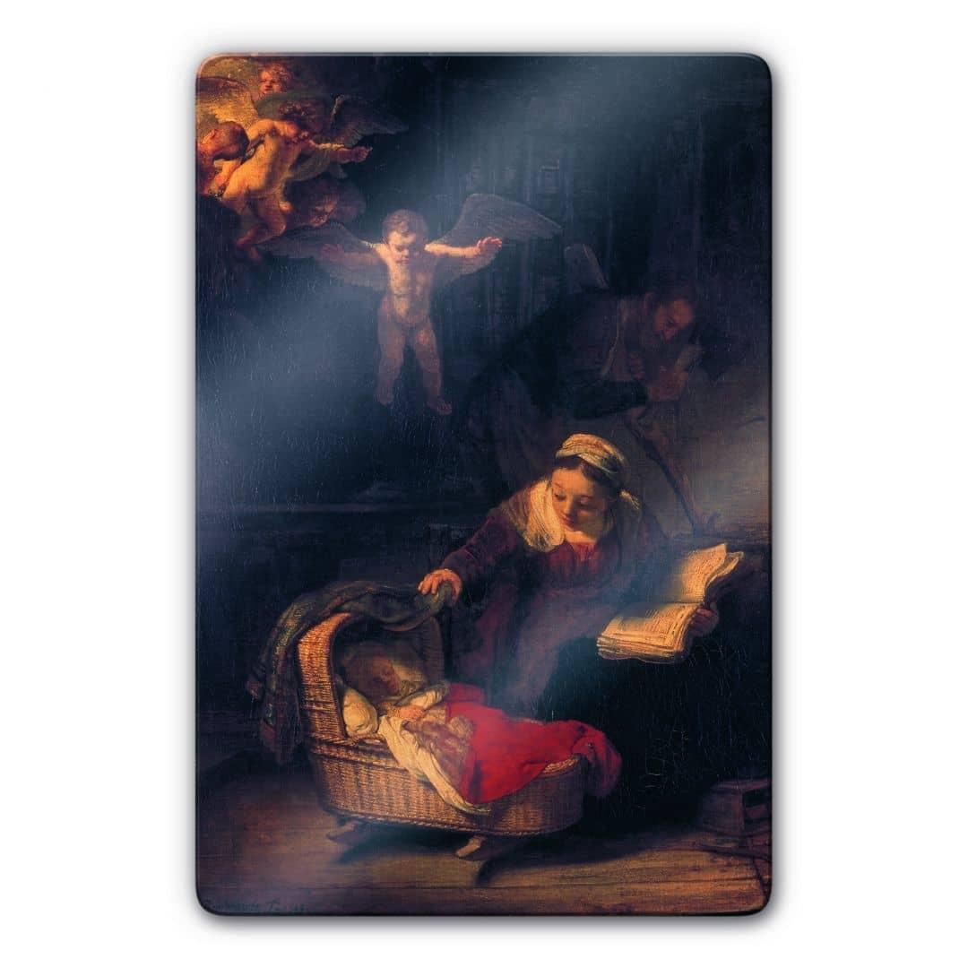 Kunstdruck Rembrandt Heilige Familie mit Engeln auf Glas ...