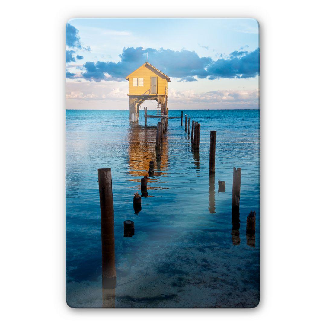 tableau en verre la maison sur la mer. Black Bedroom Furniture Sets. Home Design Ideas
