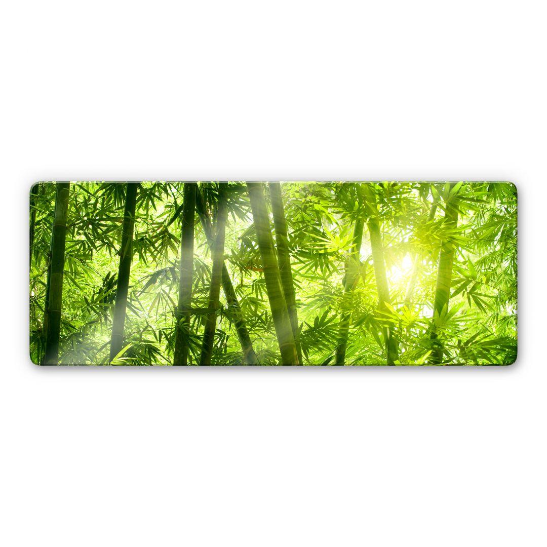tableau en verre rayon de soleil dans la for t de bambous panorama. Black Bedroom Furniture Sets. Home Design Ideas