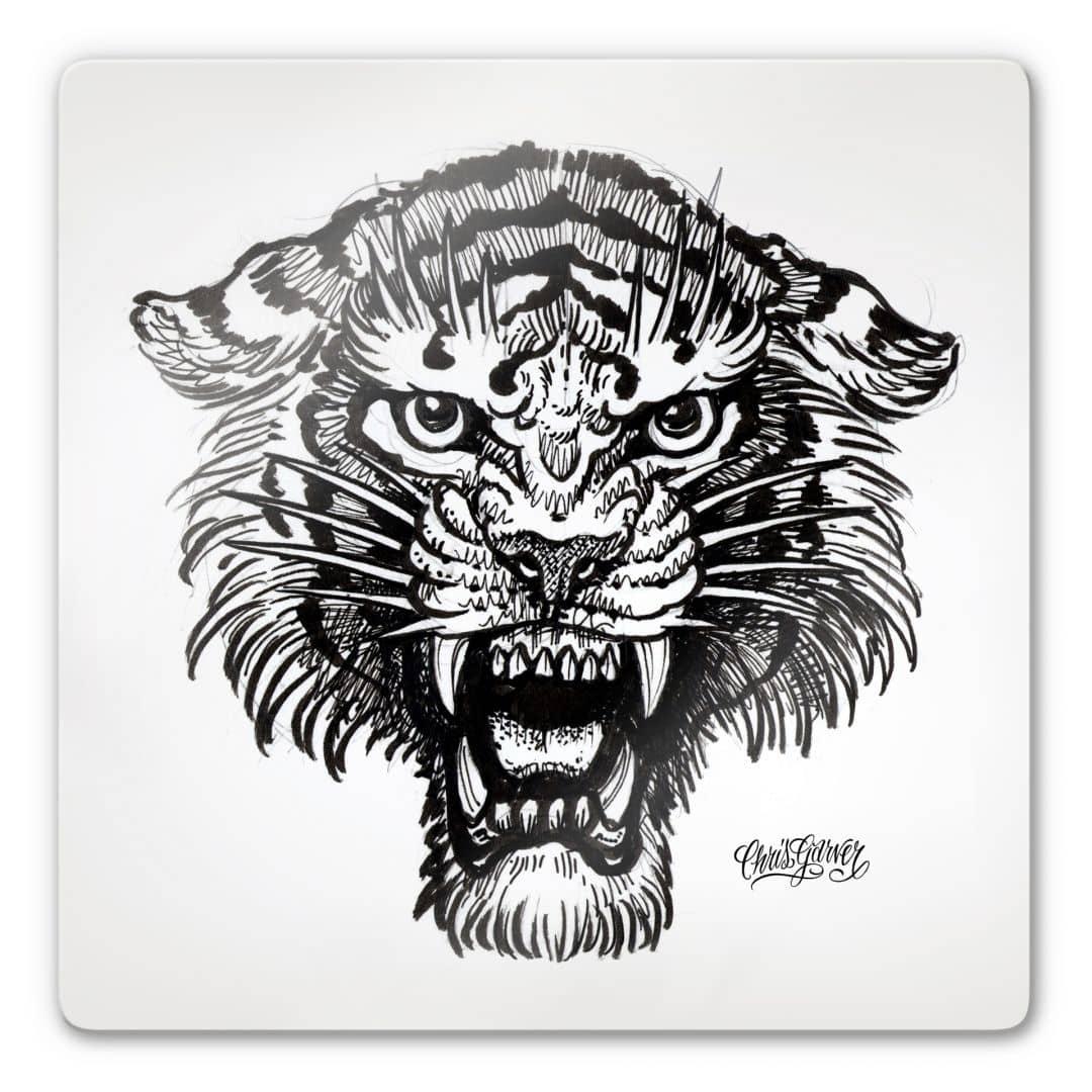 schwarz wei glasbild tiger von miami ink exklusiv bei k l wall art wall. Black Bedroom Furniture Sets. Home Design Ideas