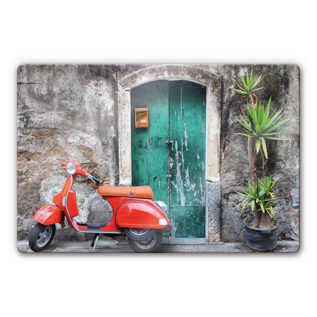 glasbild red scooter rotes moped als dekoidee wall. Black Bedroom Furniture Sets. Home Design Ideas