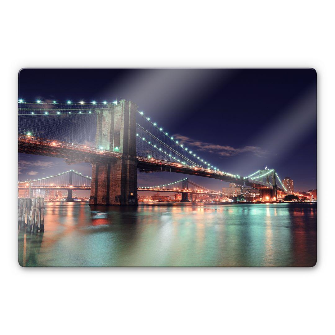 Glasbild Manhattan Bridge at Night 2 - wunderschönes Motiv ...