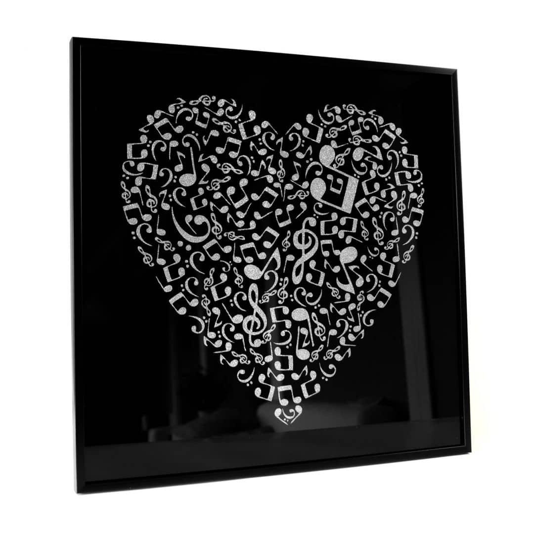 wanddecoratie muziek hart zilver glitter