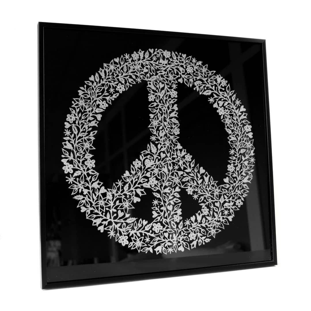 Wall Art Peace Sign - silver glitter