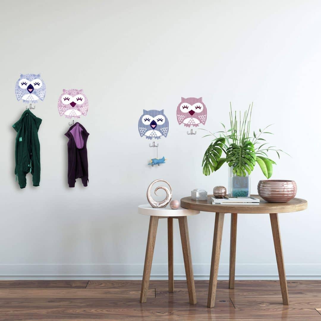 Owls Wall sticker + 4 Hooks