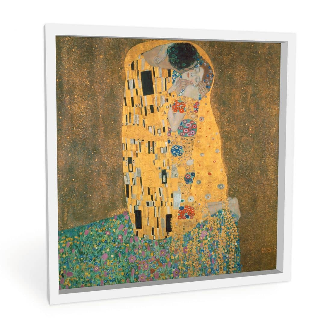 kunstdruck gustav klimt der kuss auf hartschaum als dekoration wall. Black Bedroom Furniture Sets. Home Design Ideas
