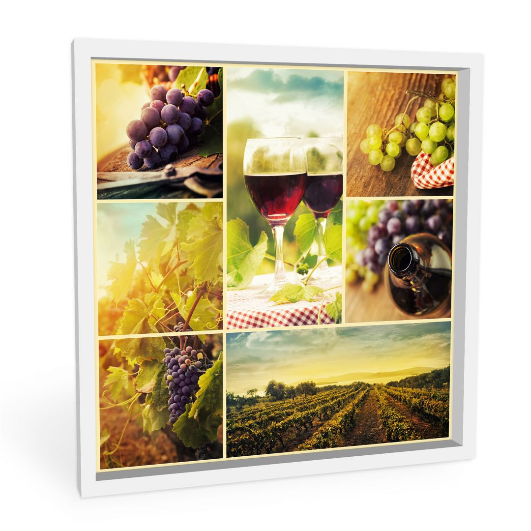 wanddecoratie wijn collage 30x30 cm