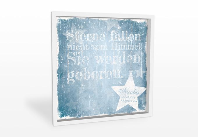 Wandbild Wunschtext + Name - Sterne fallen nicht vom Himmel (blau)