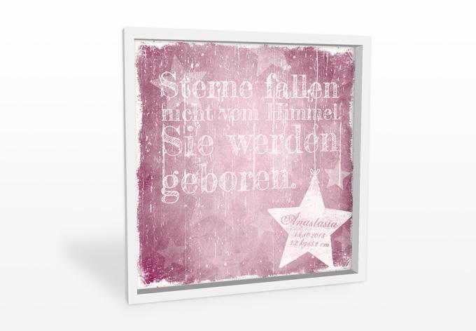 Wandbild Wunschtext + Name - Sterne fallen nicht vom Himmel (rosa)