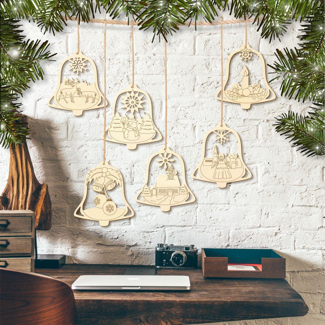 Boomdecoratie Kerstklokjes (6-delig)