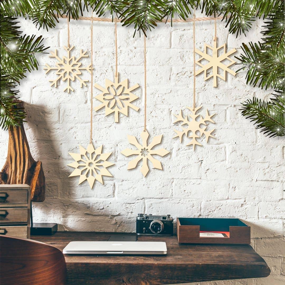 Baumschmuck Schneeflöckchen Set (6-teilig) mit Aufhänger