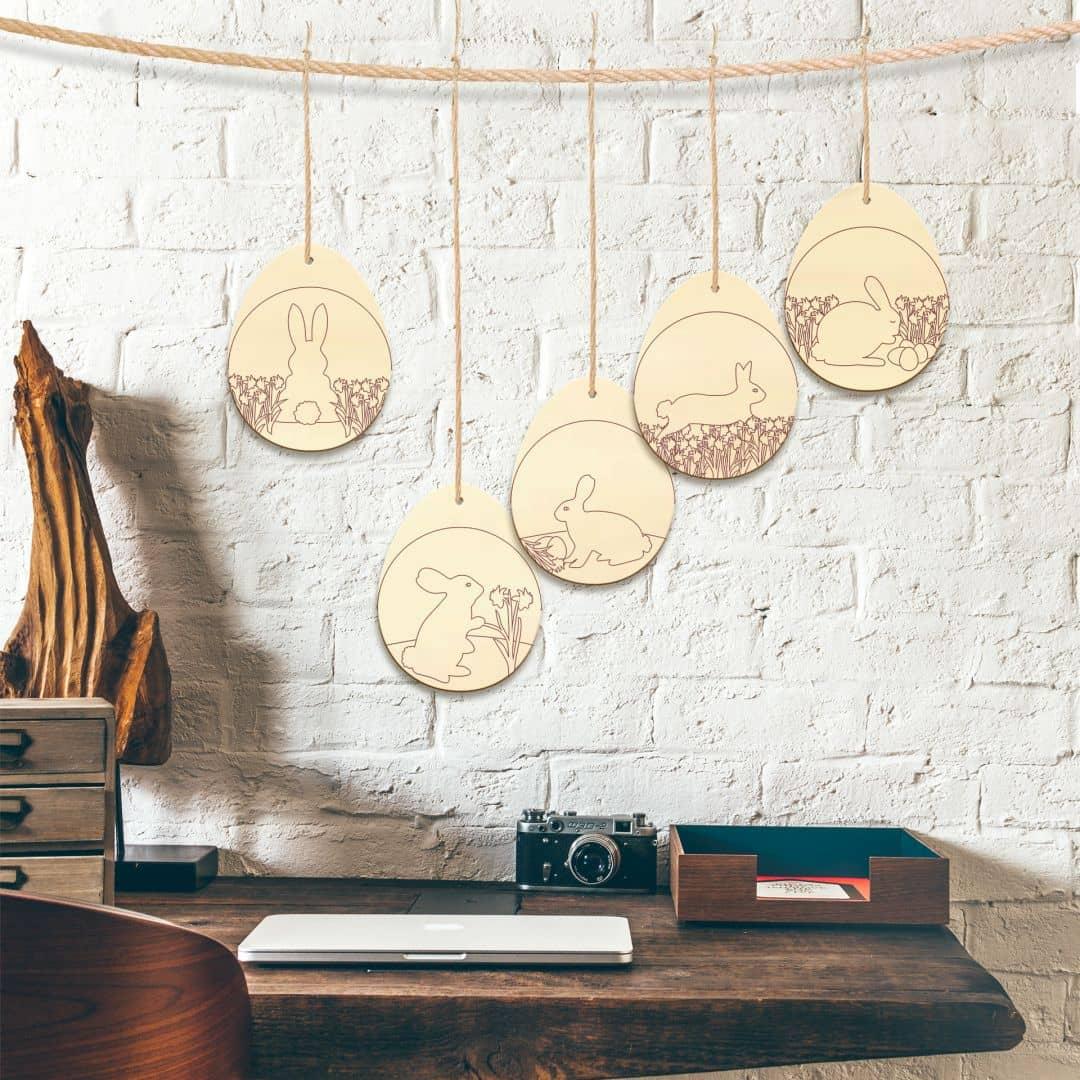 Boomdecoratie Paaseieren met Haasjes (5-delig)