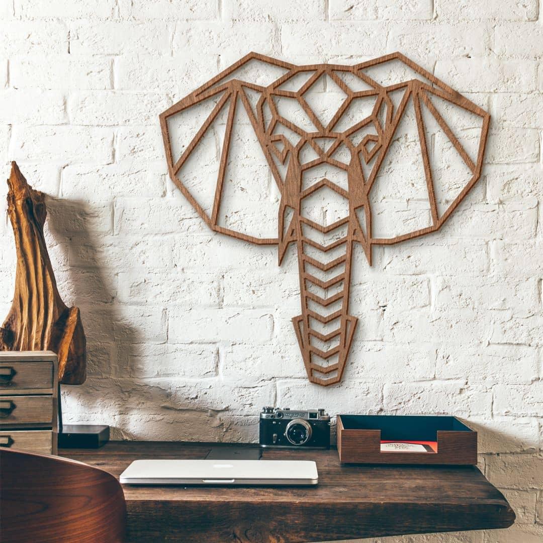 Holzkunst Mahagoni - Origami Elefantenkopf