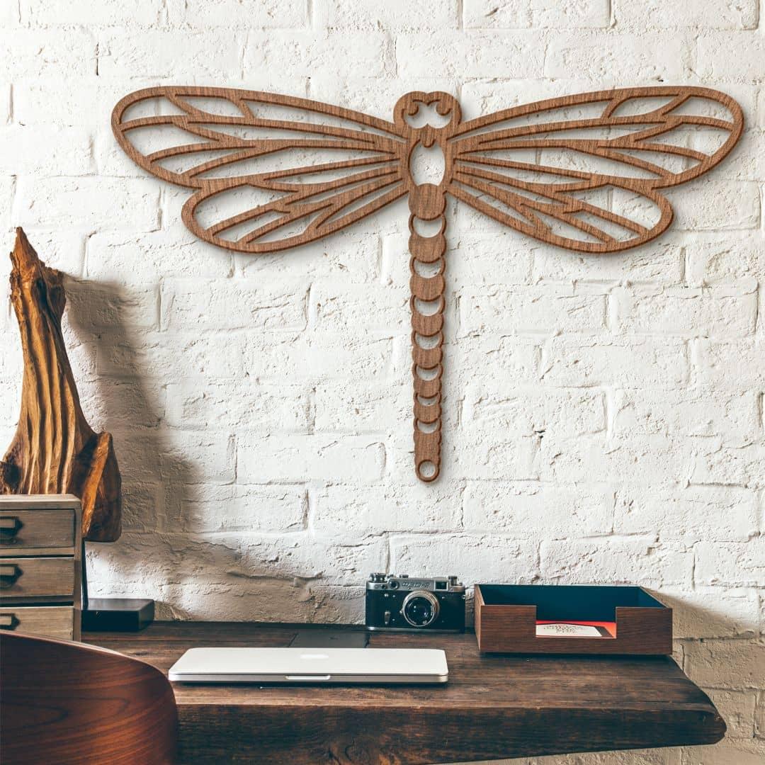 Holzkunst Mahagoni - Origami Libelle
