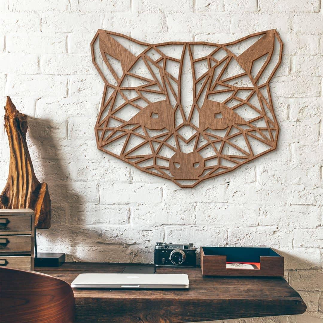 Holzkunst Mahagoni - Origami Waschbär
