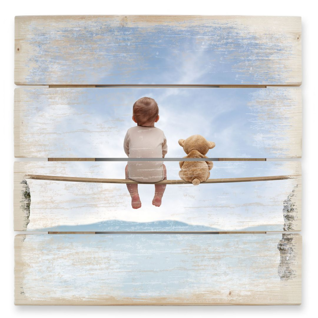 Baby & Teddy Bear - Wood Print