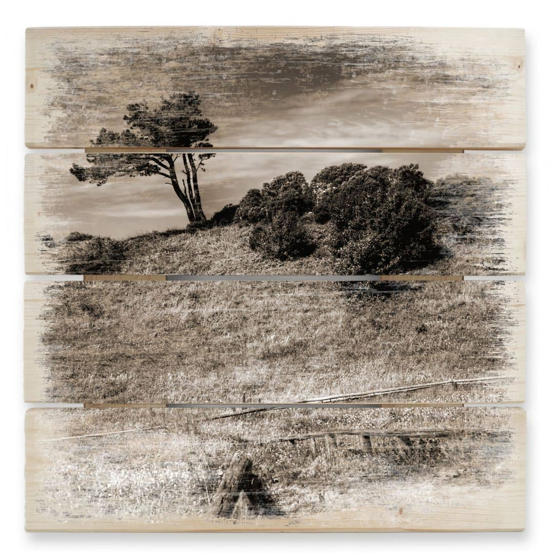 Landscape with Tree - Wood Print
