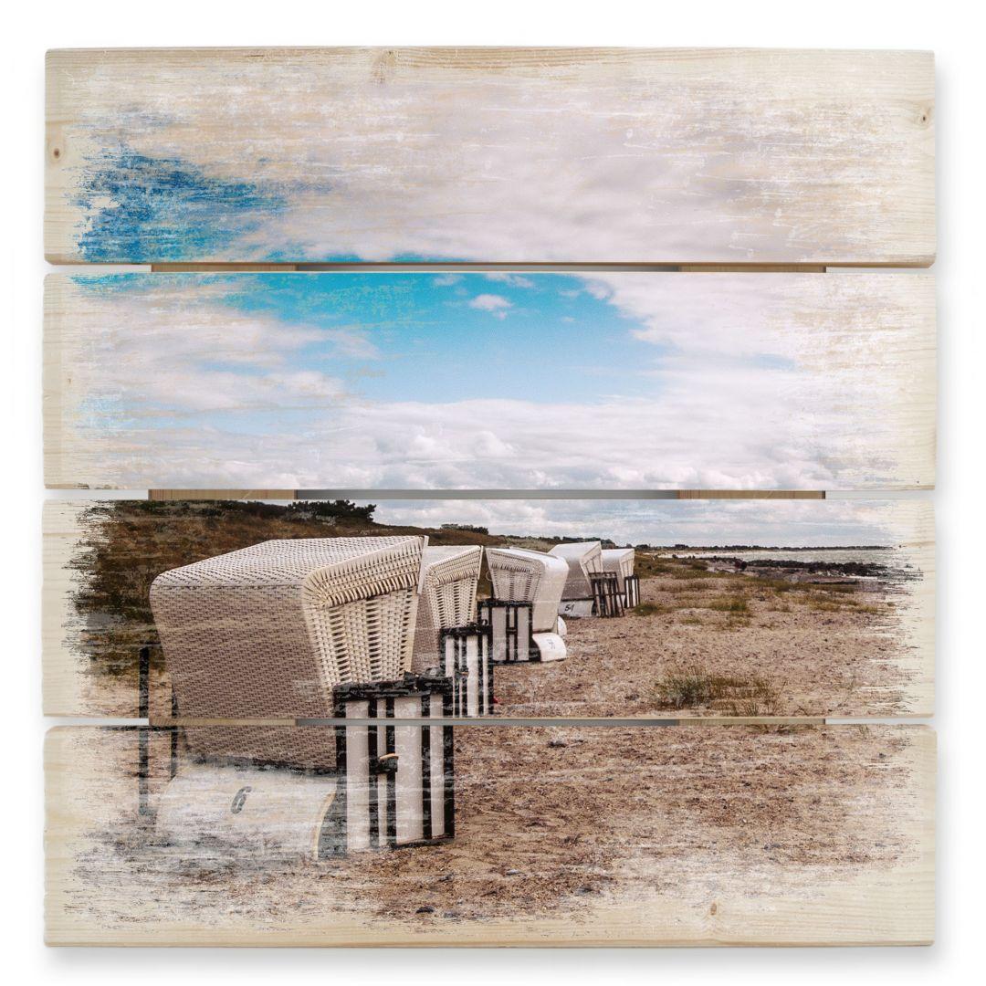 Holzbild Strandkörbe auf Hiddensee